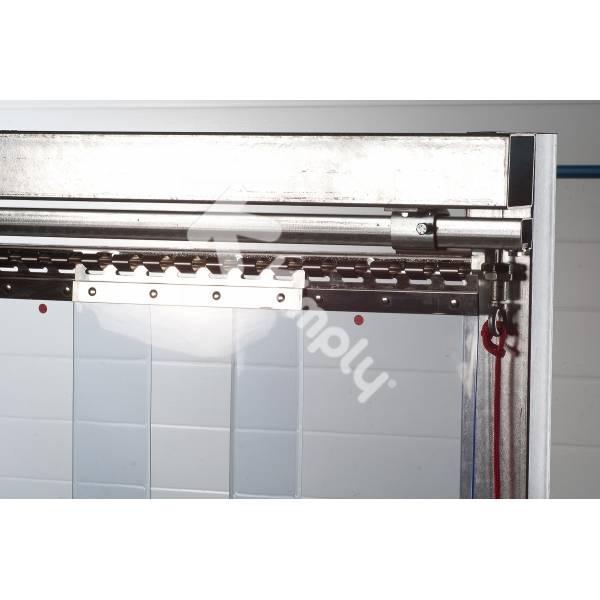 Rail coulissant pour porte souple à lanières ou rideau à lamelles mobile