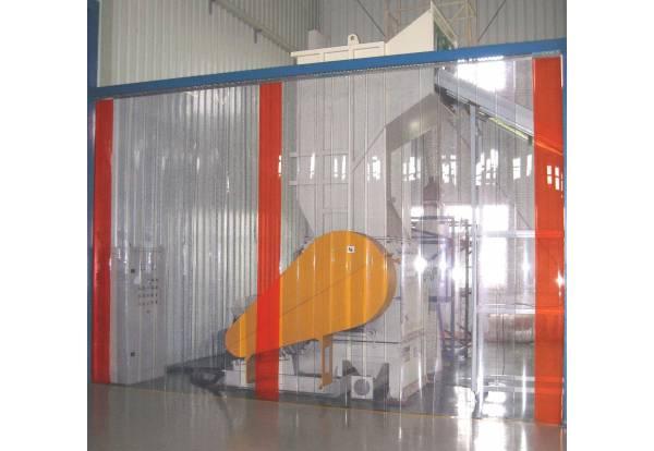Rideau à lamelle PVC industriel, rideau en lames PVC extérieur, plastique